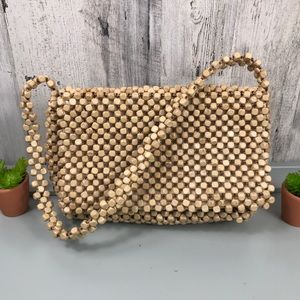 Wooden Beaded Woven The Sak Shoulder Bag Purse